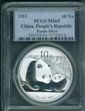 2011 SILVER PANDA 1 Oz. 10Y 10-Y PCGS MS69 CHINA 10Yn Yuan Yn MS-69 S10Y !!!