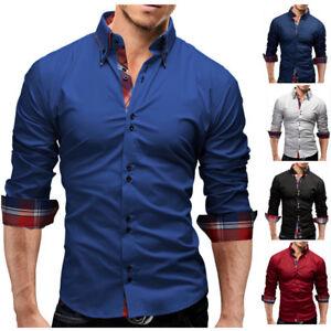 Mens Dress Shirts Fashion Casual Luxury Button Down Slim Fit Long Sleeves Shirts