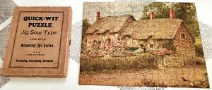 ANN HATHAWAY'S COTTAGE Jigsaw PUZZLE Quick-Wit Lock Style 200pc Vintage COMPLETE