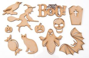 Halloween Wooden MDF Shape Blank - Small BOO! - set of 11 items + 2 gift items!