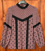 River Island NEW Tile Print Blouse Fashion Top in Pink Sizes 6 to 18