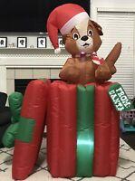 Gemmy Airblown Inflatable Animated Pop Up Puppy In Present 5 Ft