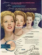 1947 Bourjois Evening In Paris Face Powder Vtg Print Ad