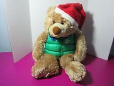 Hallmark Santa Floppy Teddy Bear North Pole Green Vest