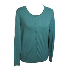 Talbots Women's Button Front Cardigan Size MP in Turquoise Green