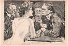GIBSON GIRL PLAYS BRIDGE with HANDSOME MAN by CHARLES DANA GIBSON 1904