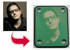 GREEN Guitar Neck Plate - Free Custom Photo Engraving - 4 Hole Fender Style