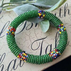 """Vintage Hand Made Seed Beads Bangle Bracelet sz S m 7"""" Wrist"""