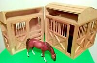 """MELISSA & DOUG LARGE WOODEN HORSE BARN ☆ 2pc TOY STABLE ☆ 17""""×14.5"""""""