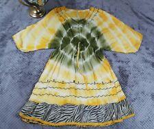 Ocean Breeze Yellow Green Batwing Dress Tie Dye Zebra Embroider Women FREE SIZE