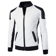 Men's Winter Warm Faux Leather Jacket Coat Motorcycle Biker Overcoat Outwear New