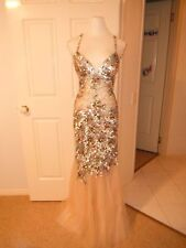 Designer Nurielle Haute Couture Silver/Gold Crystal Sequin Dress Size 6