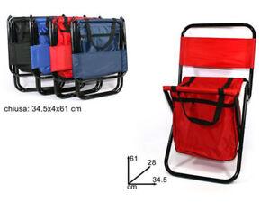Sgabello pieghevole con sacca per pesca campeggio sedia con schienale max 85 kg