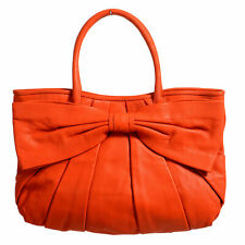 Red Valentino Women's Orange 100 Leather Bow Decorated Tote Shoulder Bag