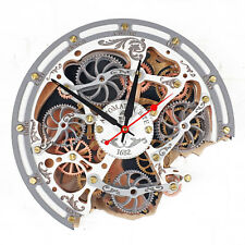 Automaton Bite 1682 white HANDCRAFTED moving gears unique steampunk wall clock