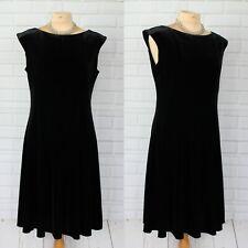 M&S Black Velvet Fit & Flare Short Sleeve Dress 14 Knee Length Smart Evening