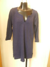Boden Tunic Top Shirt Sz 6 Navy Blue Long 3/4 Sleeves Vee Neck Slits Cotton Cute