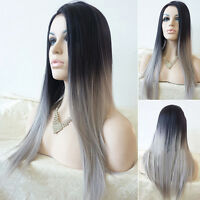EG_ Women's Long Straight Full Wig Heat Resistant Hair Black Ombre Grey Party Wi