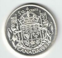 CANADA 1953 NSF SD 50 CENT HALF DOLLAR QUEEN ELIZABETH CANADIAN .800 SILVER COIN