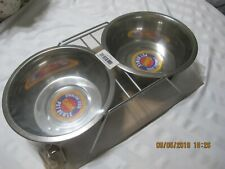 Cadet Double Diner Dog Puppy 2 Quart Bowl Stainless Steel / Stand Pet Feeder NEW
