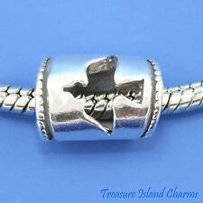 PEACE DOVE BIRD .925 Solid Sterling Silver EUROPEAN EURO Spacer Bead Charm