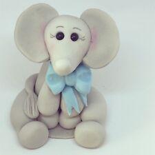 Edible Baby Boy Elephant, Birthday, Christening, Baby Shower Cake Topper