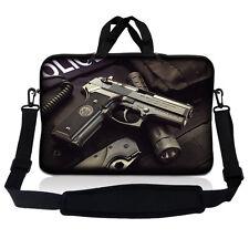 "13.3"" 13 Laptop Sleeve Bag w Shoulder Strap Chromebook Macbook Gun Police SP05"