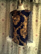 Drag Queen Blue/Gold SHORT dress with White feathers size 14/16