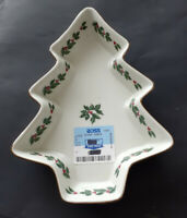Holly Collection Christmas Tree Shaped Candy Dish Formalities by Baum Bros. NEW!