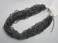 36-Strand Woven Black Seed Bead Necklace