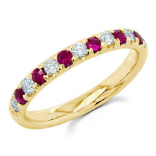 14K Yellow Gold Alternating Natural Round Diamond Ruby Rubies Gemstone Ring Band