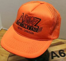 VINTAGE A TO Z BUY, SELL, TRADE BEND OREGON TRUCKERS HAT ORANGE SNAPBACK VGC A6