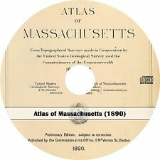 1890 Atlas of Massachusetts from Topographical Surveys - Maps Book on CD