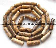 """natural yellow picture Jasper 4x14mm tubelike Beads 15"""" high quality gemstone"""