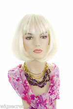 Chin Length Straight Bob With Bangs Blonde Brunette Red Straight Skin Top Wigs