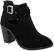Top Moda Erika High Heel Block Booties Ankle Boots Buckle Fashion Black 5 NEW