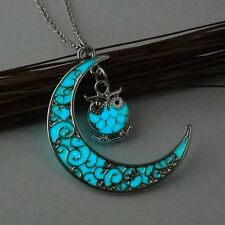 Magic Luminous Steampunk Fairy Moon Owl Glow In The Dark Pendant Necklace Gifts