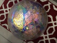 "Art Glass large Pink Johnny Roy iridescent Ruffled Centerpiece Bowl 17"""