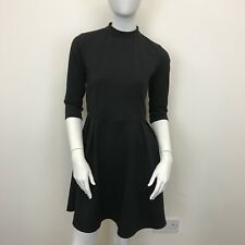 George Ladies Black High Neck Thick Jersey Skater Style Flare Dress UK Size 10