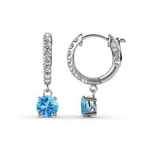 Round Blue Topaz Diamond 1 1/4 ctw Womens Dangle Hoop Earrings 14K JP:237361