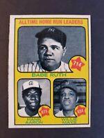 1973 Topps #1 Babe Ruth Hank Aaron & Willie Mays Creased Original