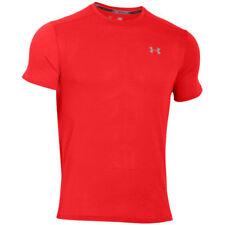 Maglie e top da uomo rossi a manica corta in poliestere per palestra, fitness, corsa e yoga