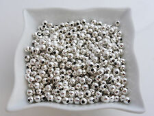 500 x 3mm Silver Colour Smooth Round Iron Spacer Beads Findings        (MBX0069)
