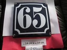 Hausnummer Emaille Nr. 65 weisse Zahl auf blauem Hintergrund 14 cm x 14 cm .....