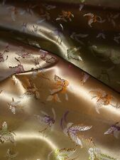 """1 Meter Gold Butterfly Design Oriental Chinese Brocade Fabric 36"""" Wide"""