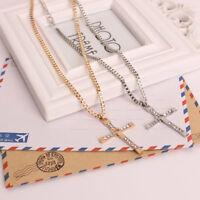 Edelstahl Gold Silber Kreuz Anhänger Halskette Kette Herren und Damen Geschenk++