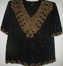 Pure Silk sudi Sequinned top in Black/Gold sz M