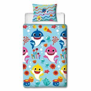 Baby Shark Single Duvet Cover Set Kids 2-in-1 Design Bedding Rainbow Sealife