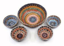 """Handmade Turkish Ceramic Pottery Set of 5 Serving Bowls 6"""" and 3"""""""