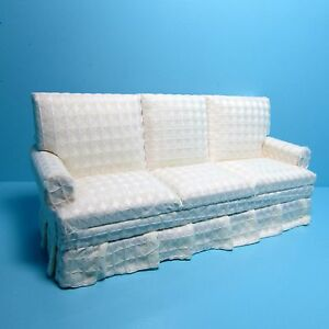 Dollhouse Miniature Fabric Living Room Couch Sofa White Plaid Texture T6666